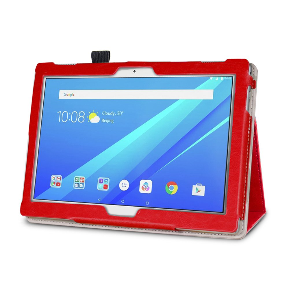 2017, 16Gb Gard/® Lenovo Tab E10 10.1 Red PU Leather Magnetic Case Cover With Stand and Handgrip For Lenovo Tab E10 10.1
