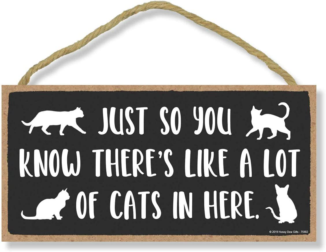 Honey Dew Gifts Door Sign, Just so You Know there's Like a Lot of Cats in Here 5 inch by 10 inch Hanging Wall Art, Decorative Cat Sign, Housewarming Gifts