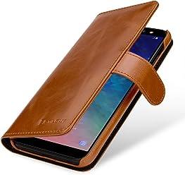 StilGut Talis Case Portafoglio, Custodia in Vera Pelle Cover per Samsung Galaxy A6 Plus 2018 con Chiusura Magnetica, Cognac