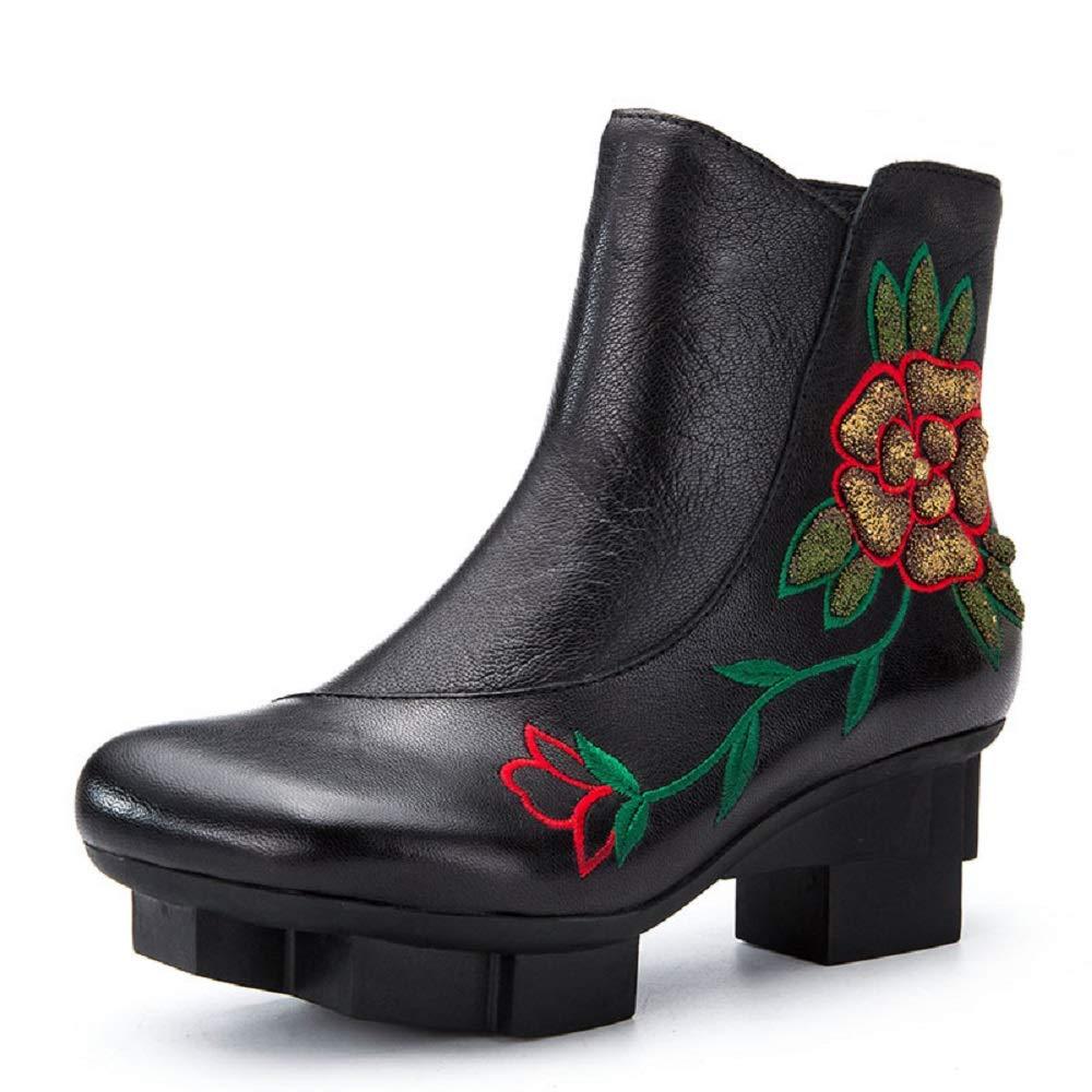 Gaslinyuan Frauen Block Blaumenstickerei Leder Zipper Stiefel (Farbe   Schwarz, Größe   EU 38)