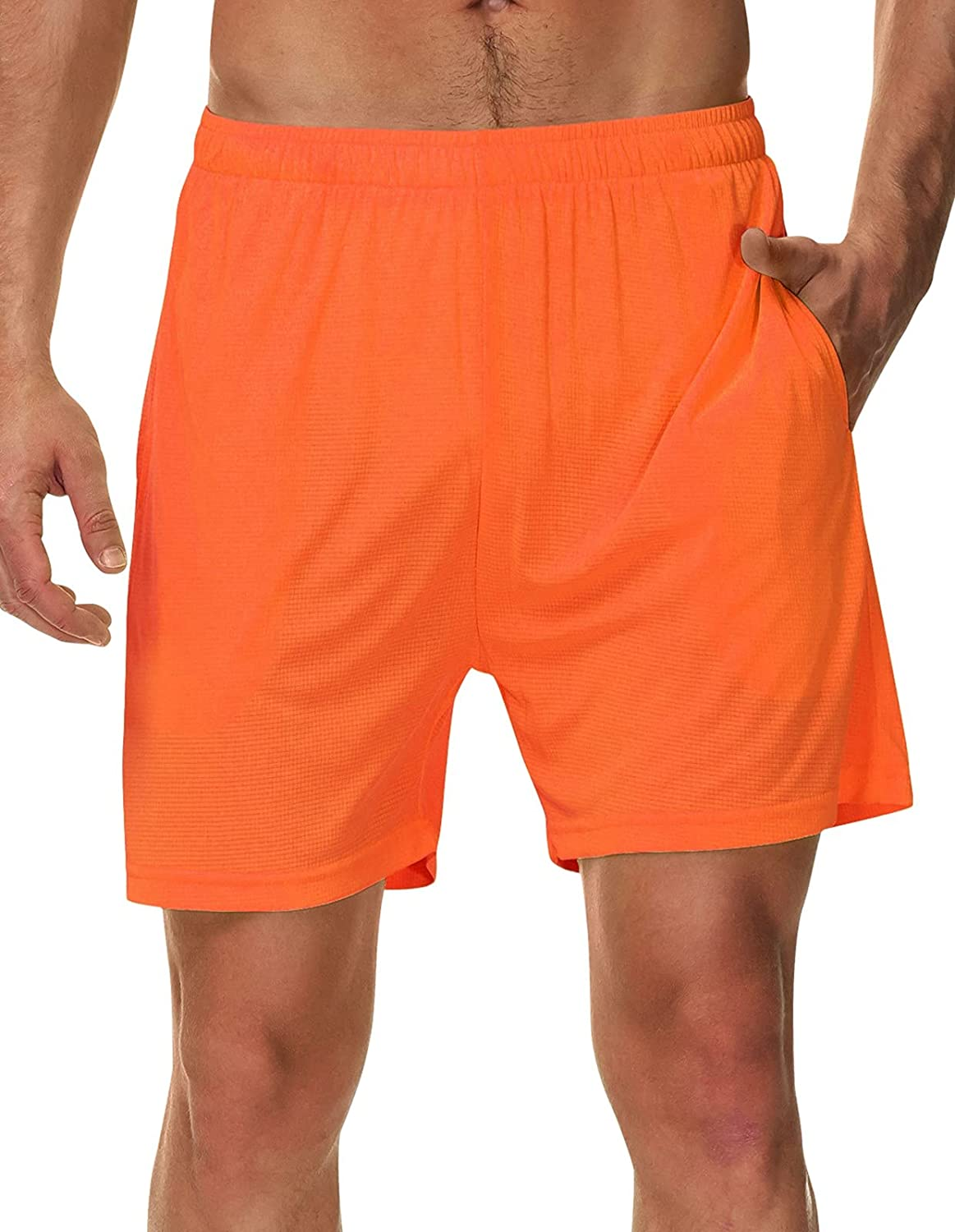 SPECIALMAGIC Men's Running Shorts 5 Inch Neon Lightweight Workout Gym Soccer Tennis Athletic Shorts with Linner Pockets: Clothing