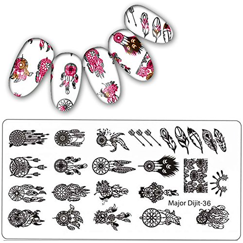 (Feather Nail Sticker,DIY Nail Art Stamp Stamping Plates Manicure Template Nail Stamping Plates,Nail appliques and decorations,Nail polish and decorative products, Beauty & Personal Care)
