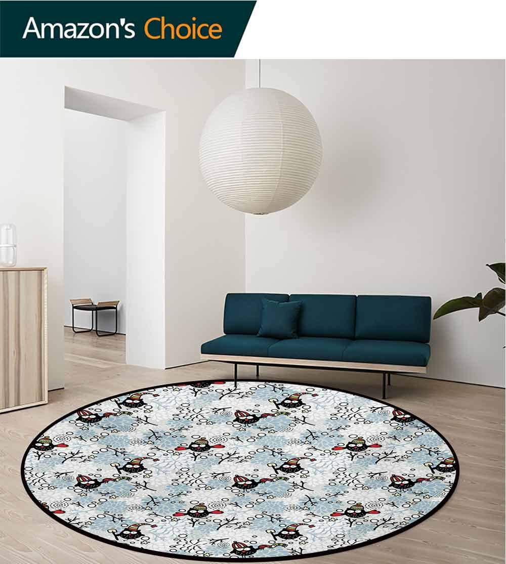RUGSMAT Owls Small Round Rug Carpet,Wintertime Pattern with Cute Characters and Snow Flowers Stars Doodle Style Xmas Theme Door Mat Indoors Bathroom Mats Non Slip,Diameter-71 Inch by RUGSMAT (Image #2)