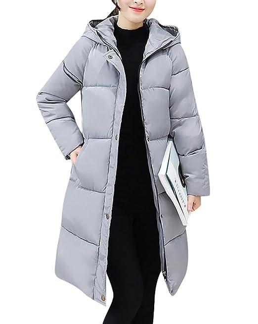 MISSMAO Damen Mantel mit Pelz Kapuze Winterjacke