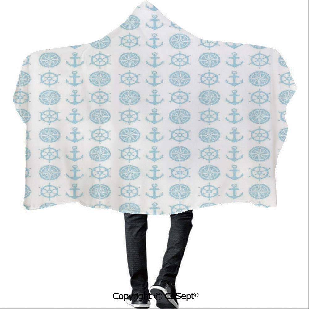 AmaUncle Hooded Blankets,Compass and Anchor Pattern Vertical Line Navigation Captain Vacation Traveling,Warm Cozy Throw Blanket (59.05x78.74 inch),
