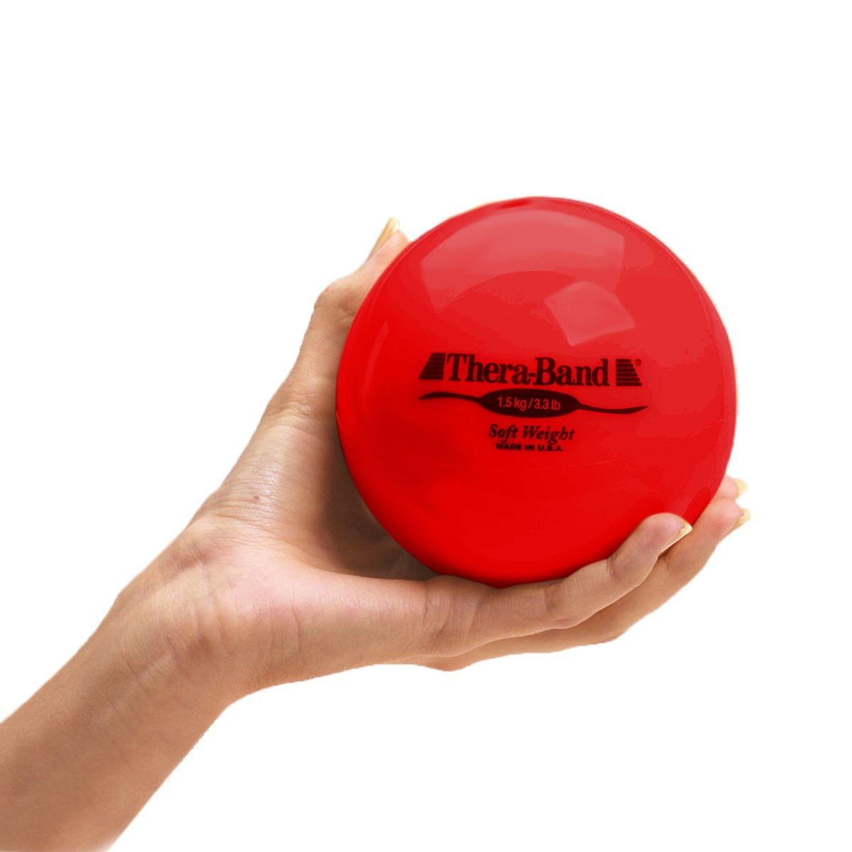 TheraBand Soft Weight, 4.5'' Diameter Hand Held Ball Shaped Isotonic Weighted Ball for Isometric Workouts, Strength Training and Rehab Exercises, Shoulder Strengthening and Surgery Rehabilitation, Red, 3.3 pound