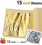 Ian's Choice Edible Gold Leaf Sheets Genuine 24 Karat Gold Sheets (15 Sheets 3.15X3.15 inch 8cm with 10 Bonus Silver Sheets) Elevate Cake Decorations,Gilding, Make Gold Glitter Dust Flakes Paint