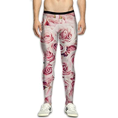 1c4b6298606591 TYJIWX Men's Compression Pants Pink Roses Quartz Color 3D Print Baselayer  Cool Dry Sports Thermal Tights