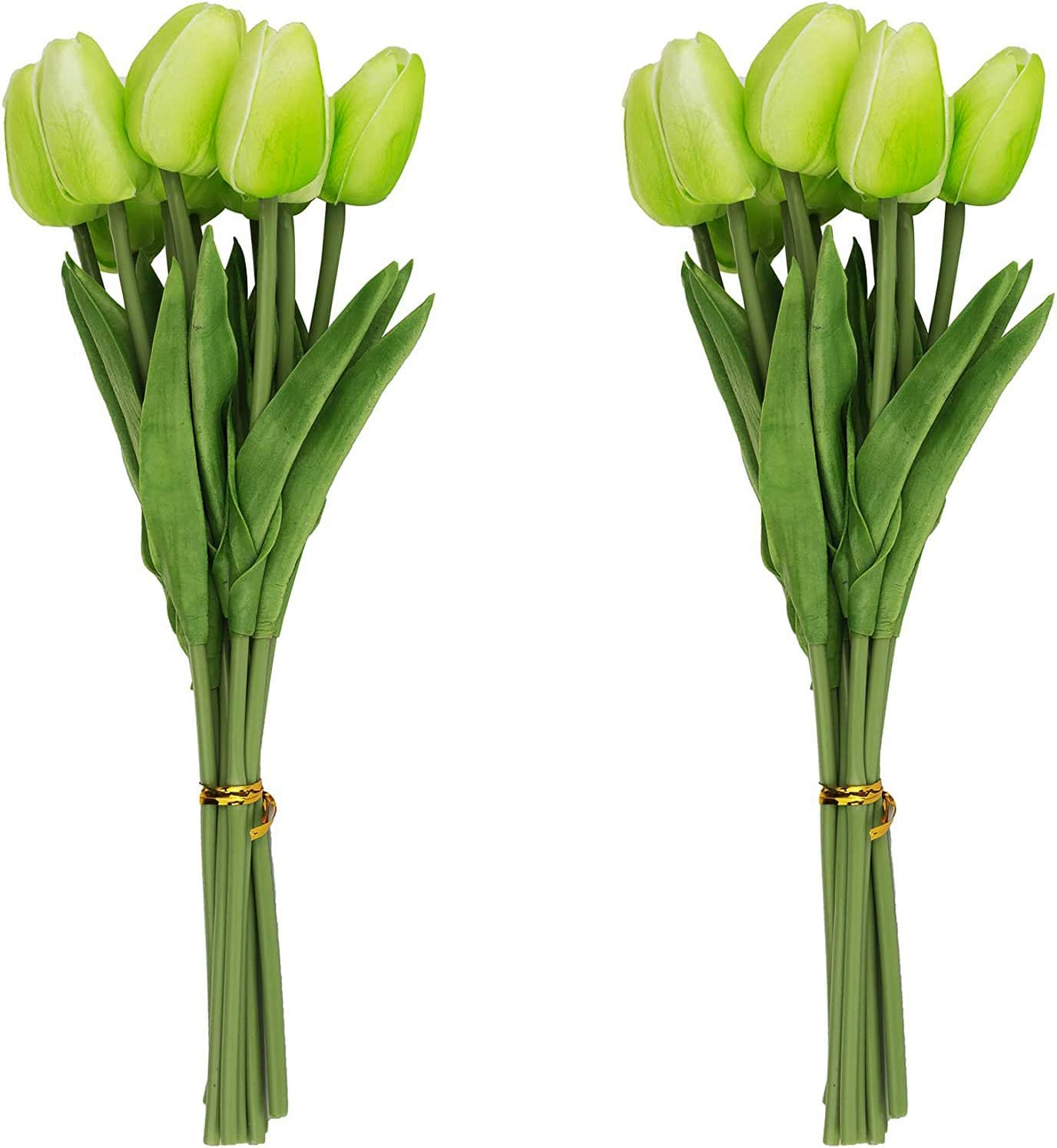 FRP Flowers Real Touch Latex Mini Tulips 10 for Floral Arrangements Pack of 24 Home//Office Decor Green Bridal Bouquets