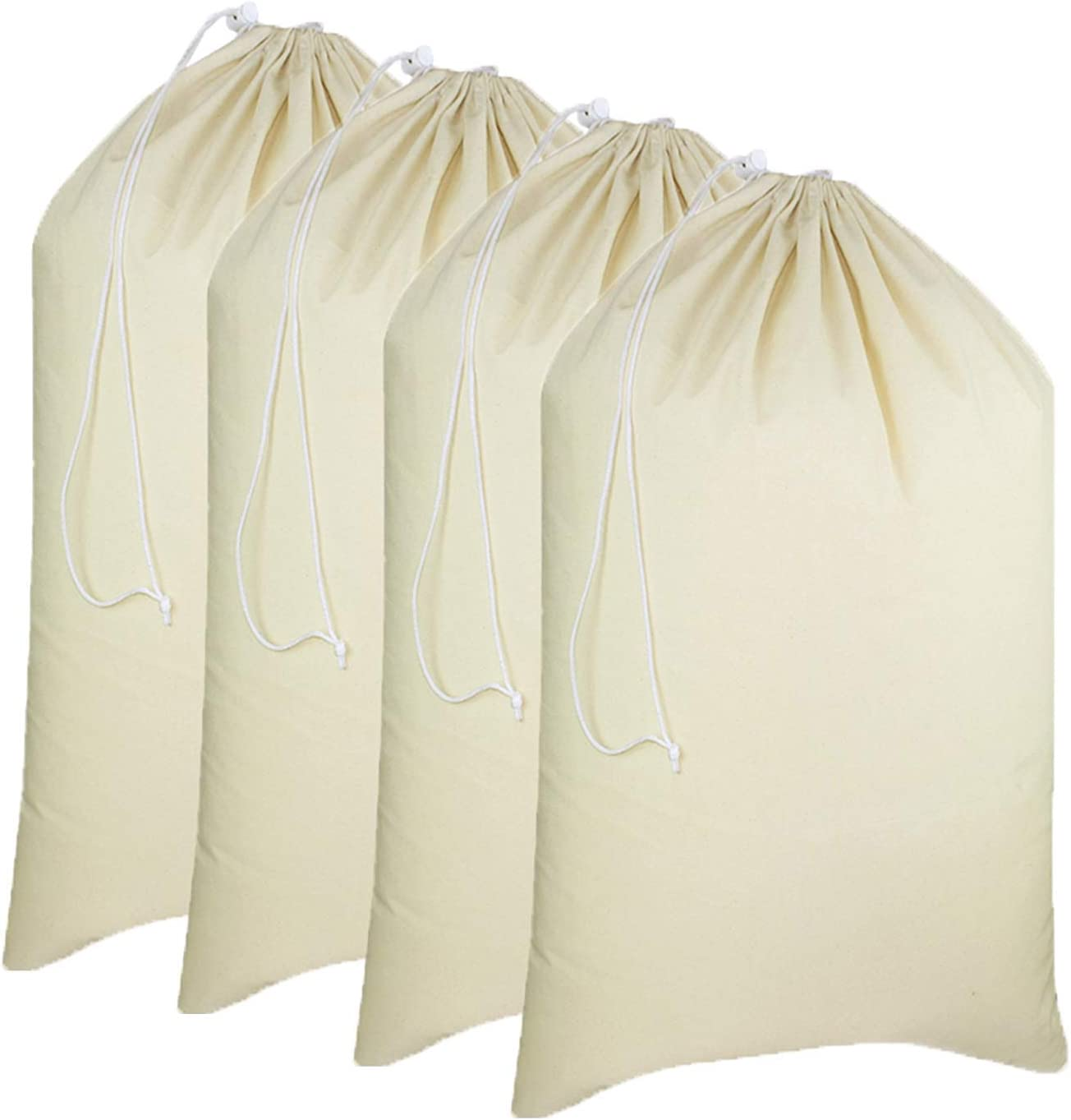 "Simpli-Magic 79164 Canvas Laundry Bags, 28"" x 36"", Natural, 4 Pack"