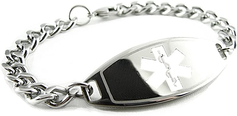 Black Steel Hearts My Identity Doctor Pre-Engraved /& Customizable Diabetic Ladys Toggle Medical Bracelet