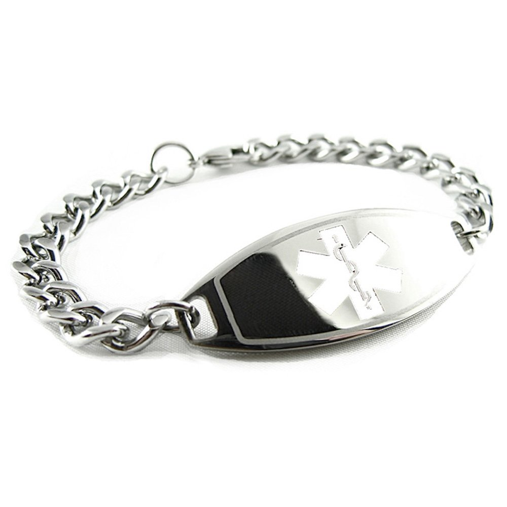 My Identity Doctor - Pre-Engraved & Customized Dementia Medical Bracelet, Wallet Card Inld, White