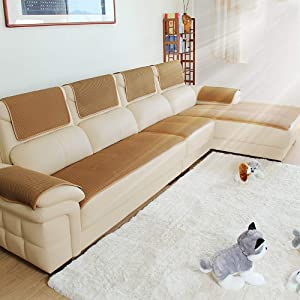 Sofa cover L Shape, not-Slip Solid Color Durable Sofa Furniture Protector for Pet Kid 1 2 3 4 Seater Universal Couch Cover Slipcover -Khaki 70x80cm(28x31inch)
