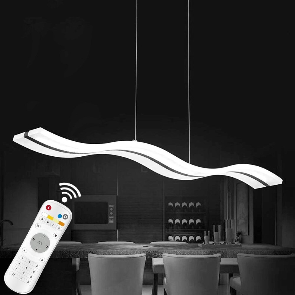 KJLARS Pendelleuchte Moderne Pendellampe LED LED Pendellampe Acryl Kühlweiß Hängelampe Hängeleuchte Esstisch Wohnnzimmer Schlafzimmer 6000K (Weiß) 3cc067