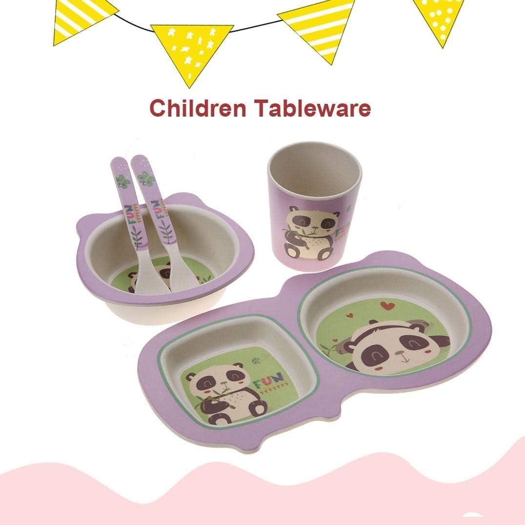 Set Bol pour B/éb/é Assiettes en Fibre de Bambou Vaisselle Ensemble Animal Cartoon Design Bol Cuill/ère Tasse pour B/éb/és Set de Table pour Repas Enfant Giraffe 5Pcs