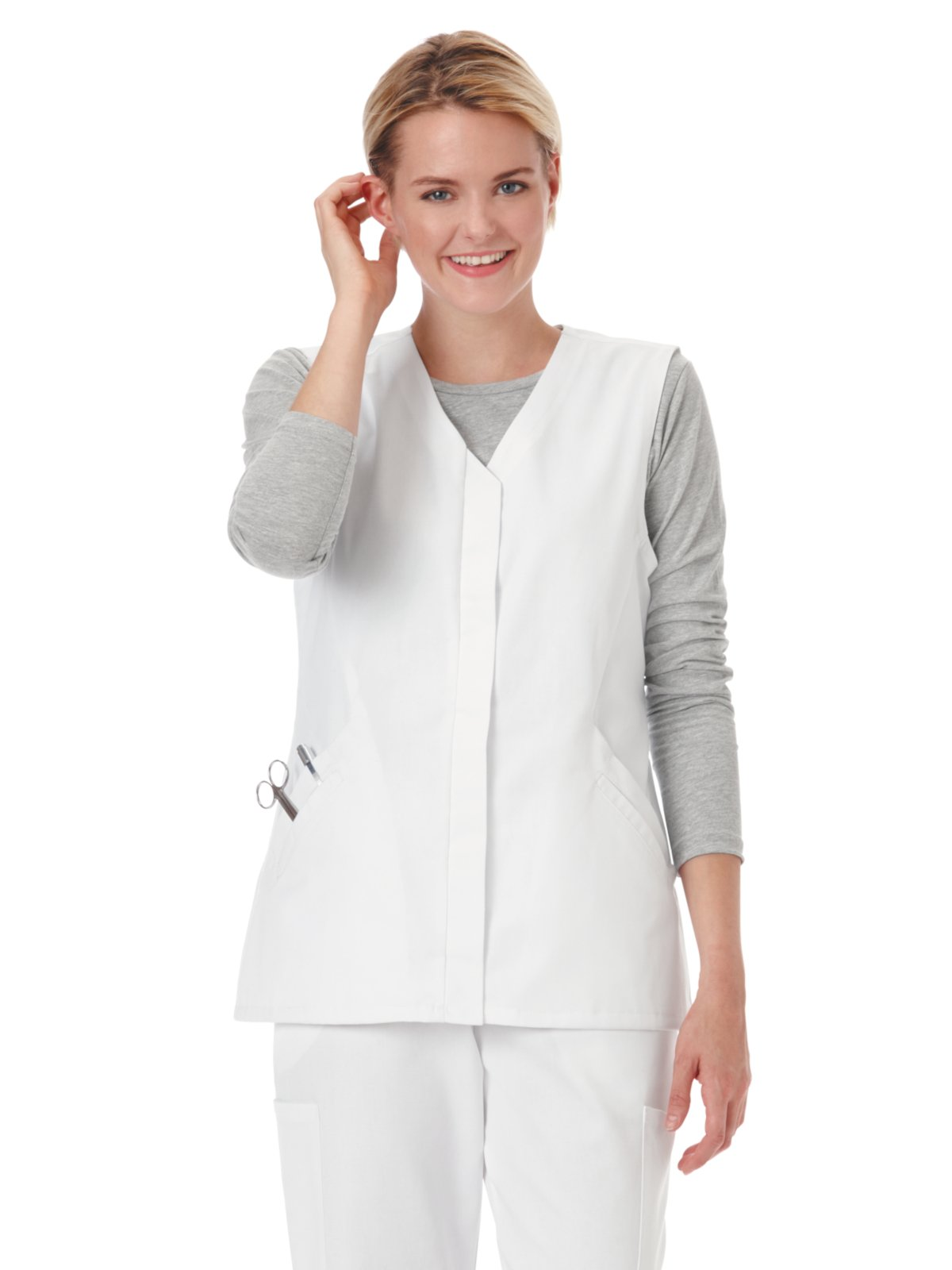 Trust Your Journey F3 Fundamentals by White Swan Women's Twill Button Front Solid Scrub Vest X-Large White