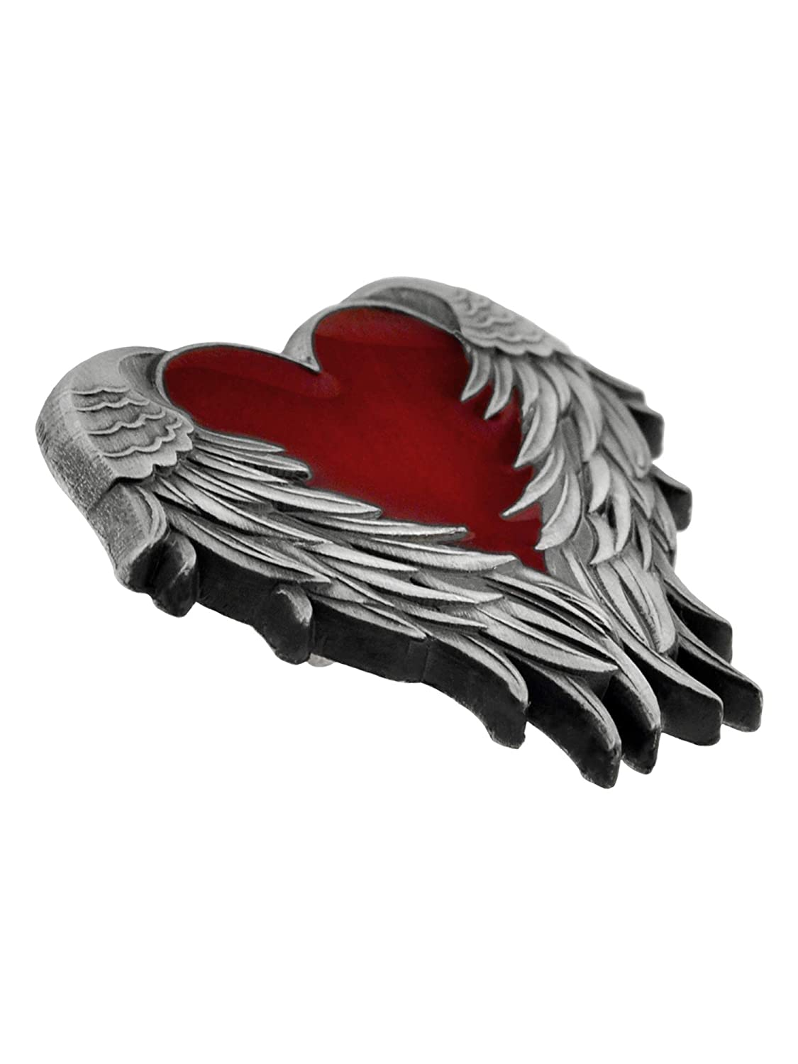 PinMart Antique Nickel Heart with Angel Wings Enamel Lapel Pin