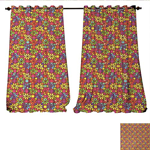 rkening Wide Curtains Stained Glass Style Pattern with Flower Motifs Geometrical Star Shapes Mosaic Tile Customized Curtains W96 x L96 Multicolor ()