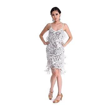 SymbolLife Vestido latino de la danza, Rumba Salsa Samba Tango Ritmo atractivo de la borla