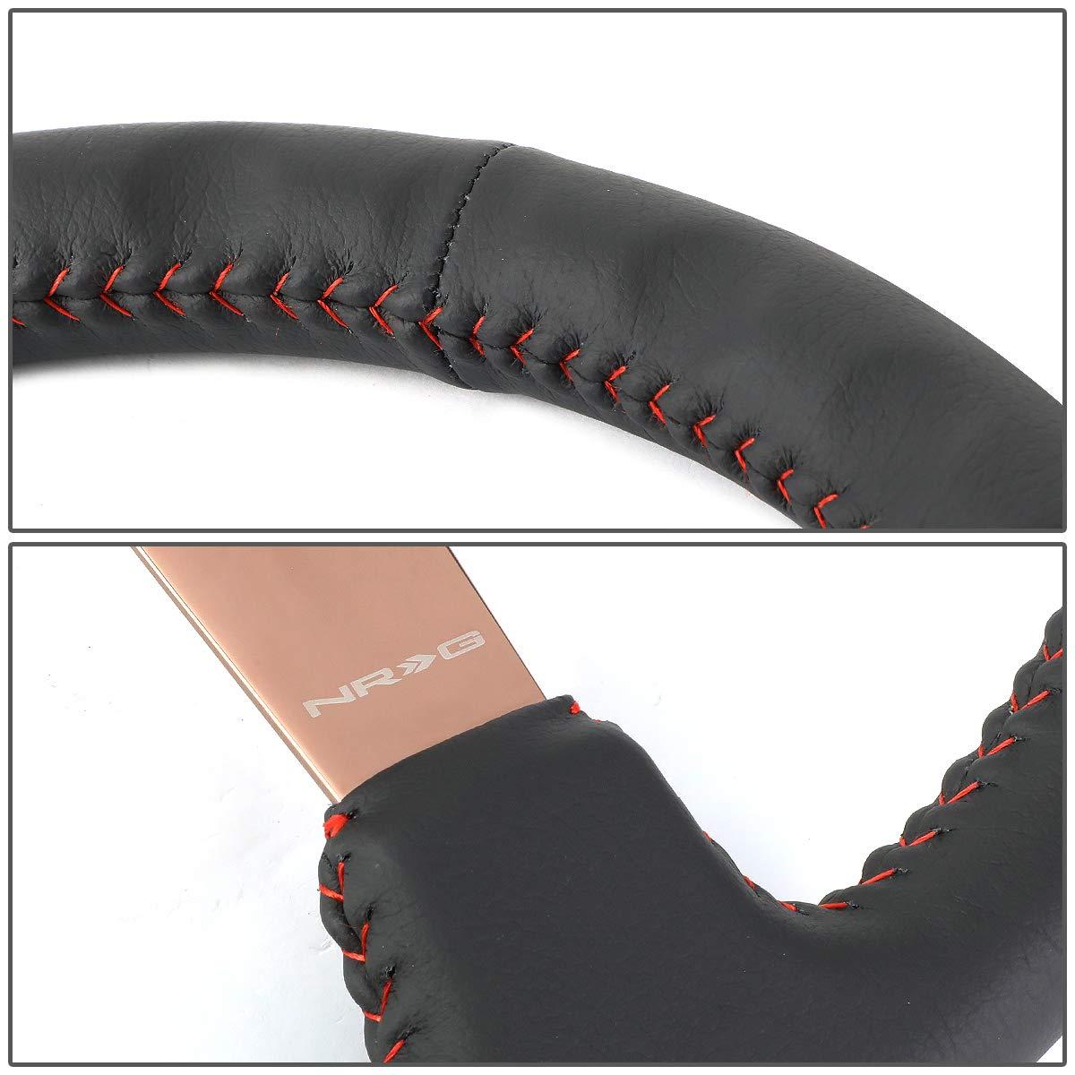 Black Leather, Red Baseball Stitch, Rose Gold spoke NRG Innovations ST-036RG 350mm Sport Wheel