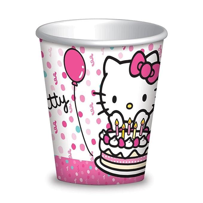Hello Kitty cumpleaños 8 vasos de papel: Amazon.es: Juguetes ...
