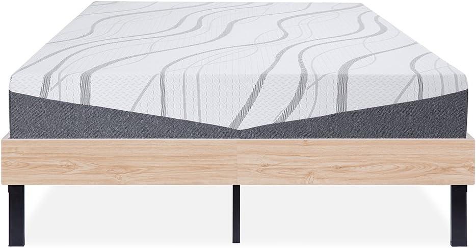 Olee Sleep Wood Platform Non-Slip Steel Slat Support No Box Spring Stylish Natural Bed Frame, King, Beige, Black