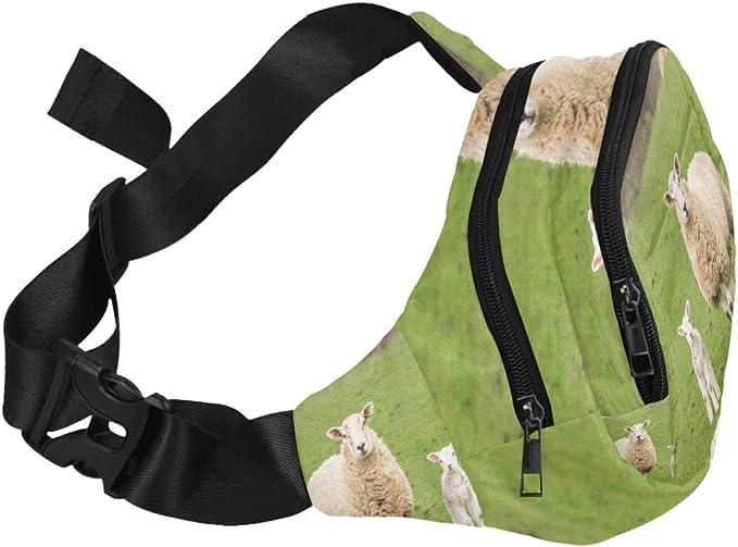 Sheeps In A Meadow On Green Grass Fenny Packs Waist Bags Adjustable Belt Waterproof Nylon Travel Running Sport Vacation Party For Men Women Boys Girls Kids