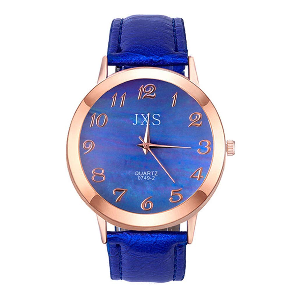 ❤️Yanvan❤️Watches for Women Hot Sale Quartz Watch, Ladies Women Fashion Luxury Leisure Set Auger Leather Steel Quartz Watch (Blue)