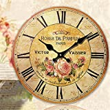 LOVE(TM)14 inch Attractive Large Shabby Chic Rustic Wall Clock. 'Roses De Paris' with Flowers Rose Design Wall Clock (NON-TICKING,NO GLASS COVER,NO FRAME)