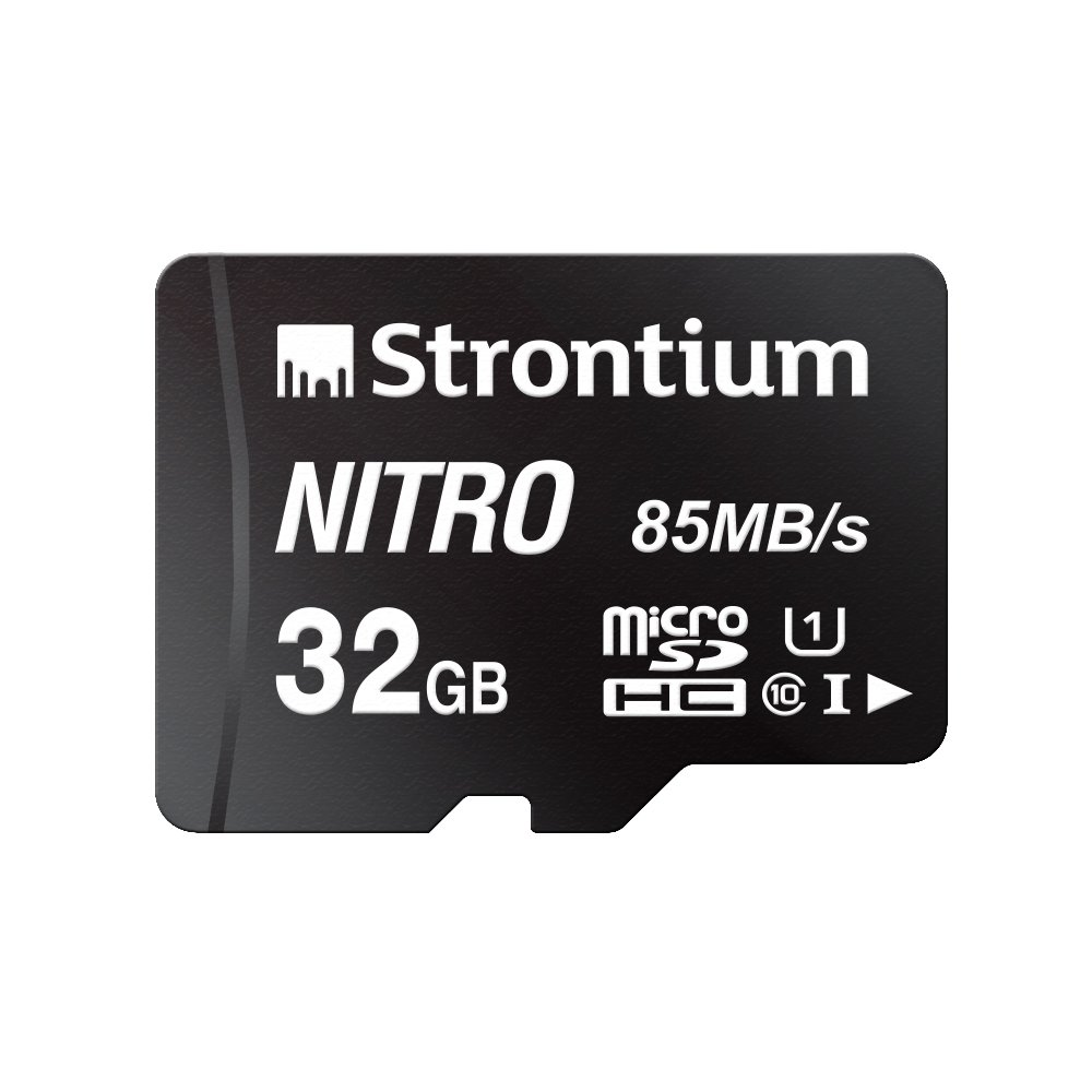Strontium Nitro 32GB Micro SDHC Memory Card 85MB/s UHS-I U1 Class 10 w/Adapter High Speed for Smartphones Tablets Drones Action Cams (SRN32GTFU1QA)