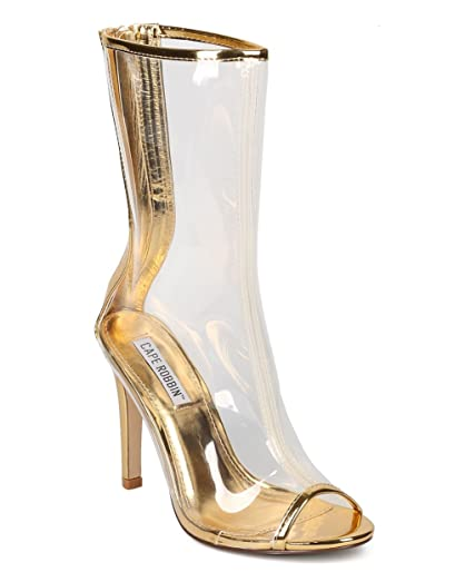 Women Mid-Calf Lucite Stiletto Boot - Dressy Costume Party - Clear Peep Toe Boot - GD71 by