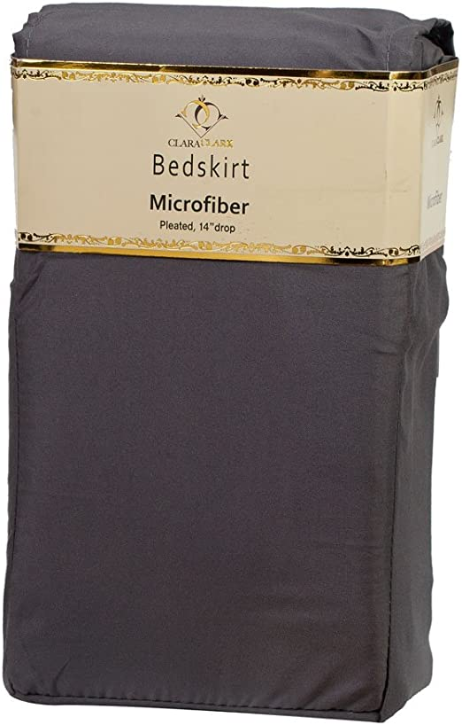 100/% Long Brushed Microfiber Dust Ruffles vend/_18-bskirt-k-whit Clara Clark Combed King Size Bed-Skirt Solid White