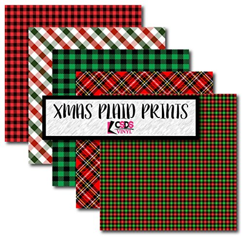 CSDS Vinyl Christmas Plaid Bundle Pack, Patterned Red and Green Heat Transfer Vinyl, Christmas Plaid Patterned Vinyl (Heat Transfer - Patterned Christmas