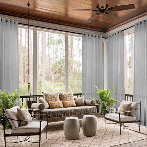 ChadMade Indoor Outdoor Solid Sheer Curtain Nickel Grommet Grey 84