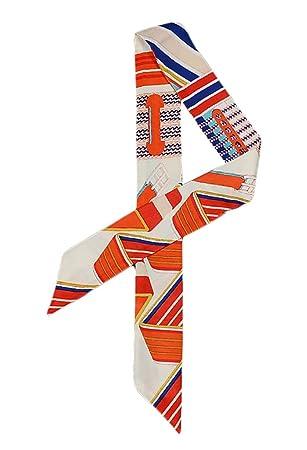 COMVIP Echarpe Ruban Décoration Sac à Main Femme Imitation Soie Foulard  Bandeau Zèbre Mode Orange 2638dc8557d