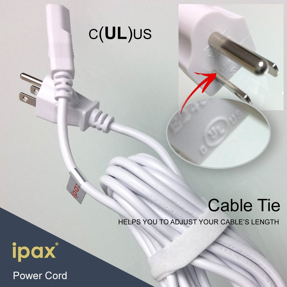 Ipax 15Ft Extra Long White AC Power Cord Cable Pull Copper Wire Core in Retail Box for Computer Plasma TV Printer Monitor AC adapter by IPAX (Image #4)
