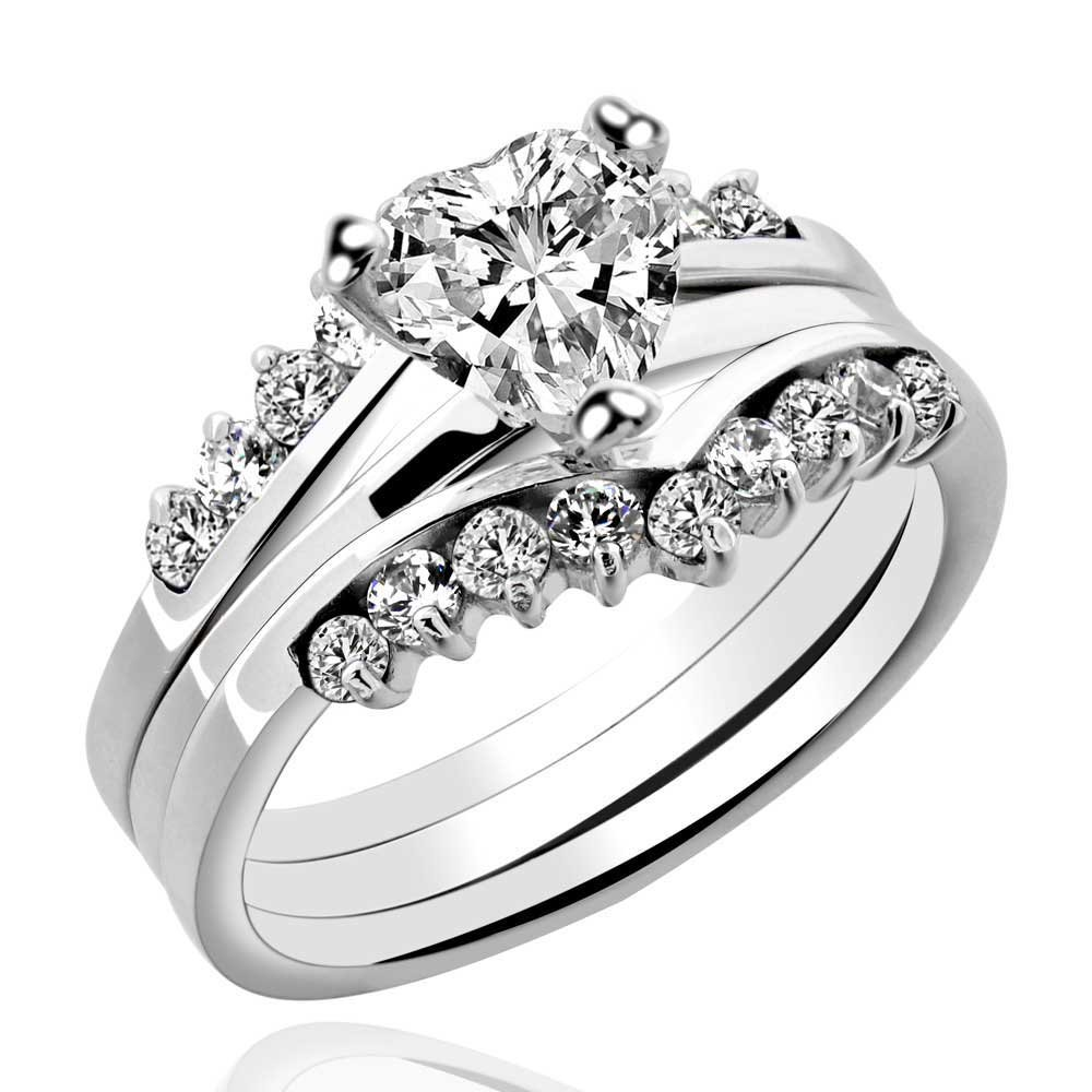 His and Hers 4 pcs 2.6CT Sterling Silver 925 Pink CZ Black 2 Tone Titanium Couple Ring Set