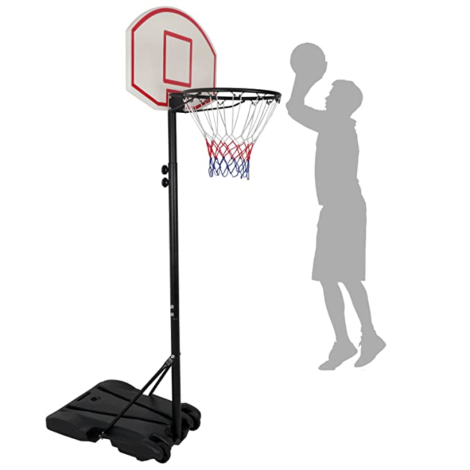 JungleA Portable Basketball Hoop Stand Backboard System Steel Pole with Backboard and Wheels Height Adjustable 76 to 98 Inches Basketball Set for 5+ Years Kids Indoor Outdoor Sports