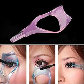 42a2ab14fed Amazon.com : 3 in 1 Mascara Shield Guard Eyelash Brush Curler Guide Eye  Lash Mascara Applicator Guard With Comb : Beauty