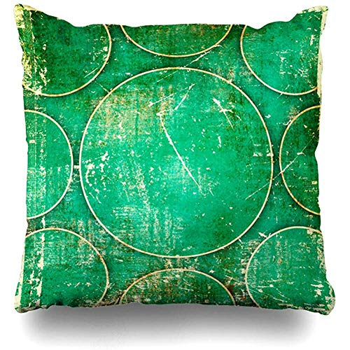 Throw Pillow Cover Dirt Age Green Abstract Emerald Futuristic Ancient Antique Artistic Back Blots Design Old Home Decor Cushion Case Square Size 18