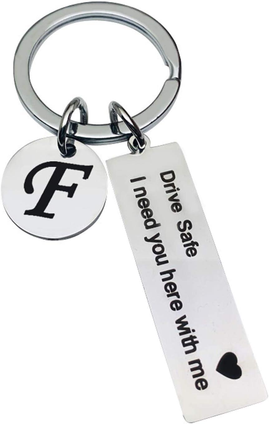 Drive Safe - Llavero de acero inoxidable con 26 letras, diseño con texto en inglés