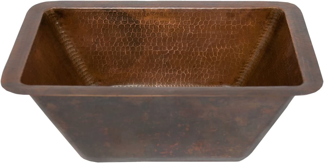 Premier Copper Products LRECDB Rectangle Hammered Copper Bathroom Sink, Oil Rubbed Bronze