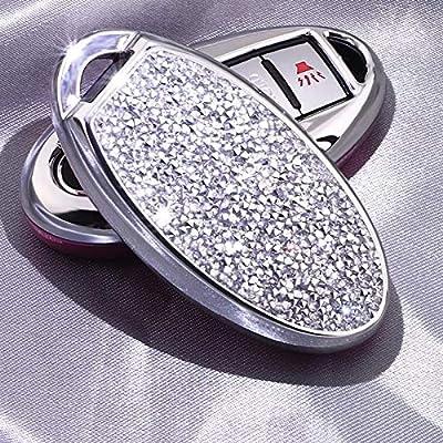 Royalfox(TM) 3 4 5 6 Buttons 3D Bling Soft TPU keyless Entry Remote Smart Key Fob case Cover for Infiniti Nissan Murano Pathfinder Titan Maxima Lannia Qashqai Sunny (Silver)