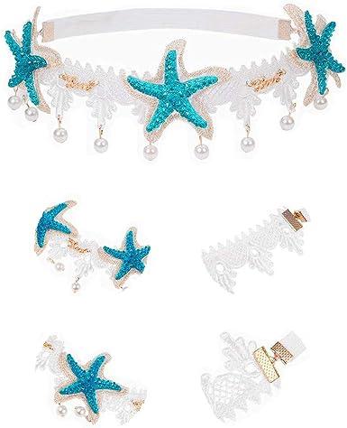 Women Girls Mermaid Starfish Shell Lace Hairband Hair Clips Pin Baby Headband