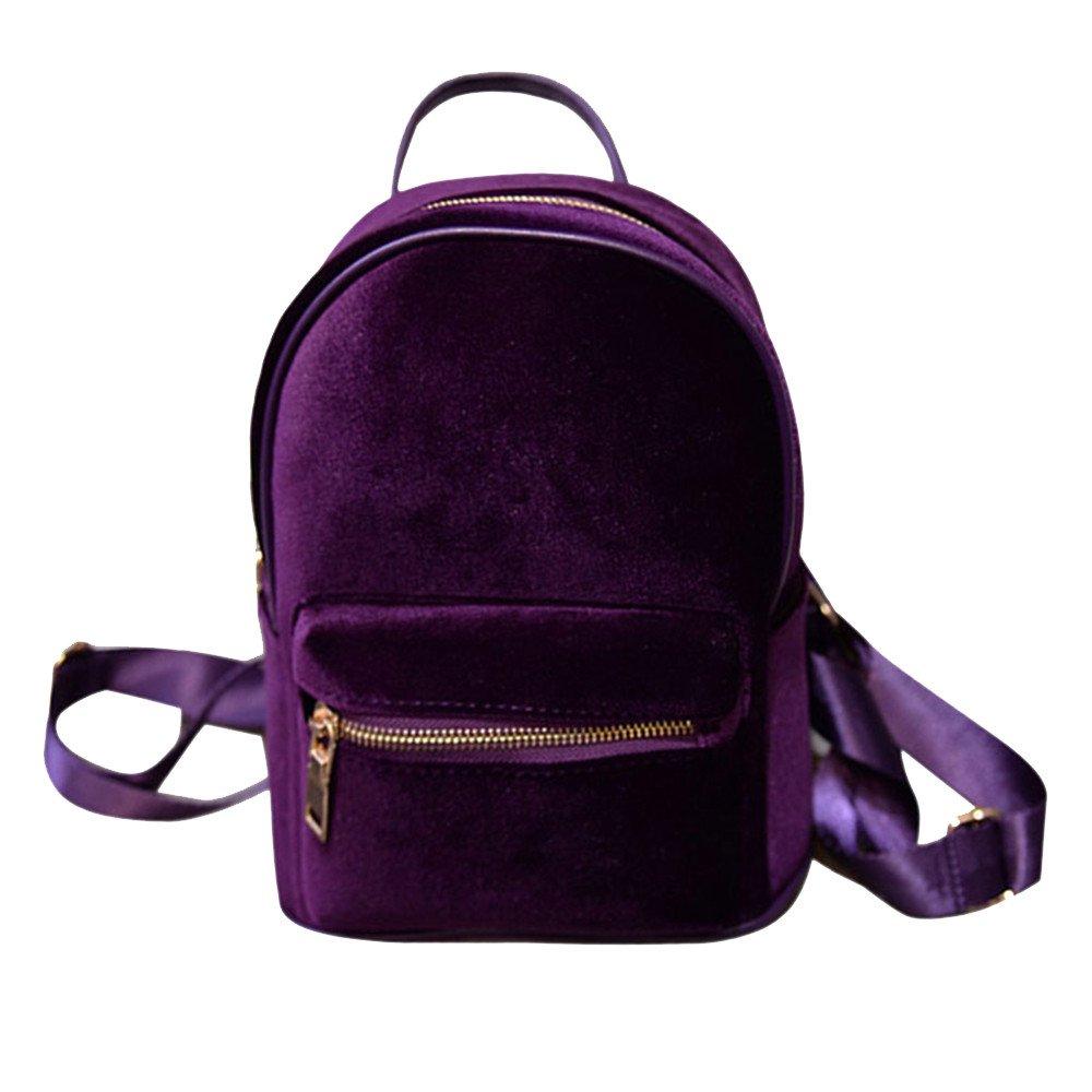 Ladies Mini Backpack Fashion Velvet Zipper Bookbags Girls Shopping School Travel Rucksack Bag Zulmaliu gray
