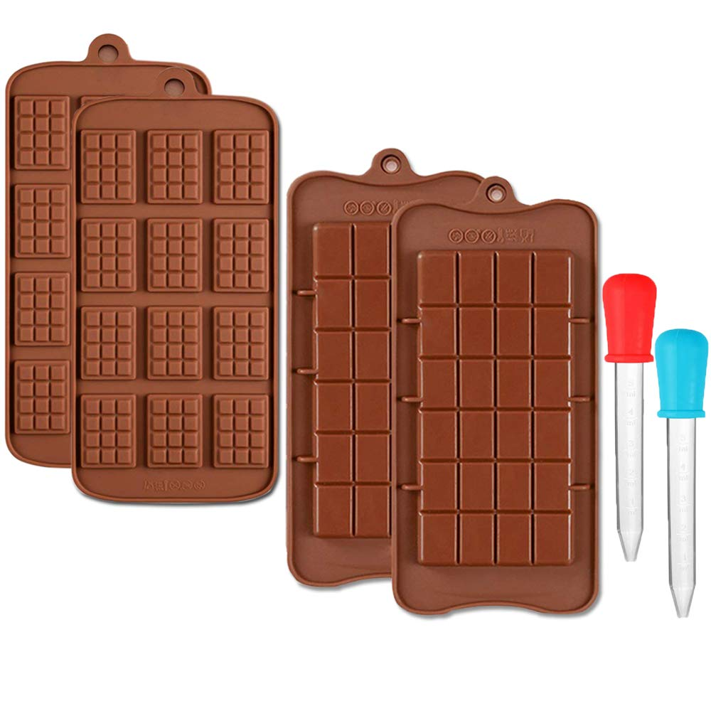 CKANDAY 4 Pcs Silicone Chocolate Molds & 2 Clear Liquid Droppers, 2 Style of Break-Apart Non-Stick Protein Candy and Energy Bar Baking Tray Moulds,with 2 Pack Graduated Eyedropper