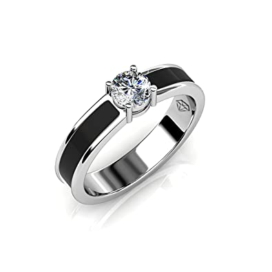 71e0a29d49031 Amazon.com: FAPPAC 1 Solitaire Ring Band Enriched with Swarovski ...