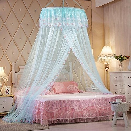 Princess Round Lace Bed Net Canopy Netting Mosquito Net for Crib Twin Full Queen Bed Light Blue