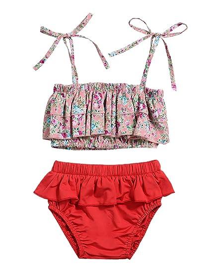 3b621fb16669 Baby Girl Swimsuit Floral Bikini and Ruffle Skirt Swimwear Outfit with Headband  3Pcs (Pink,