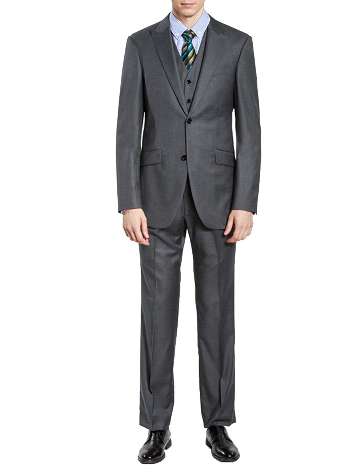 HBDesign Men's 3 piece 2 Button Peak Lapel Slim Trim Fit Dress Suite Grey 50R
